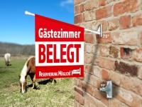 Fahne GÄSTEZIMMER BELEGT Komplett-Set beidseitig bedruckte Werbefahne