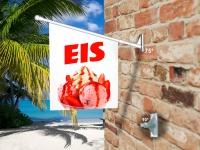 Fahne EIS - ERDBEERE MIT SAHNE Komplett-Set beidseitig bedruckte Werbefahne, Kioskfahne