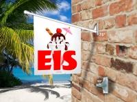 Fahne EIS - EISBECHER MIT SCHIRMCHEN Komplett-Set beidseitig bedruckte Werbefahne, Kioskfahne