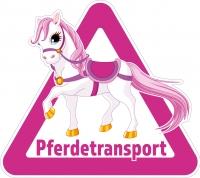 Aufkleber PFERDETRANSPORT für Pkw, Pferdeanhänger, Transporter 32 x 28,5 cm PINK