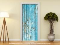 Türtapete Türposter HOLZTÜR ALT rustikal blau selbstklebend 205 x 88 cm