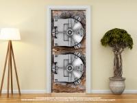 Türtapete Türposter TRESOR IN FELSWAND V1 selbstklebend 205 x 88 cm SAFE BANK