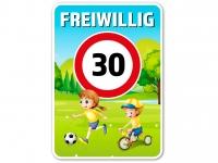 Straßenschild FREIWILLIG 30 km/h 70 x 45 cm V2 Wiese Kinder