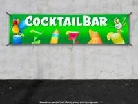 PVC-Banner COCKTAILBAR Cocktails grüner Hintergrund mit Papageien