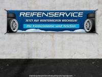 PVC-Banner REIFENSERVICE WINTERREIFEN - Schneedesign inkl. Wunschtext Aufdruck