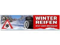 Aufkleber REIFENSERVICE WINTERREIFEN - JETZT HIER WECHSELN - Schneedesign