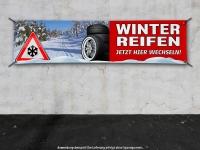 PVC-Banner REIFENSERVICE WINTERREIFEN - JETZT HIER WECHSELN - Schneedesign