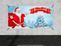 PVC-Banner MERRY CHRISTMAS Weihnachten - Xmas - Schnee - Weihnachtsmann - V01