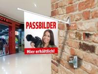 Fahne PASSBILDER Komplett-Set beidseitig bedruckte Werbefahne, Kioskfahne