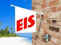 Fahne EIS - EISFAHNE WEIß/ROT Komplett-Set beidseitig bedruckte Werbefahne, Kioskfahne