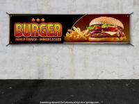 PVC-Banner BURGER Werbung Spanntransparent Hamburger Pommes 3StarBG