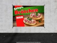 PVC-Banner BELEGTE BRÖTCHEN HIER Werbung verschiedene Formate