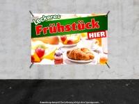 PVC-Banner LECKERES FRÜHSTÜCK HIER Werbung verschiedene Formate