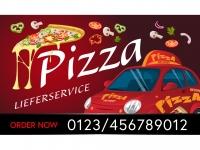 Aufkleber PIZZA LIEFERSERVICE V2 - Schaufensterwerbung + Ihre Telefonnummer