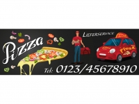 Aufkleber PIZZA LIEFERSERVICE Schaufensterwerbung + Ihre Telefonnummer