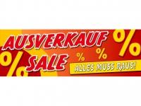 Aufkleber Schaufenster Banner AUSVERKAUF - SALE - ALLES MUSS RAUS!