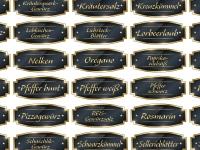 65 Stück gold/schwarze GEWÜRZETIKETTEN, Aufkleber, Etiketten, Gewürze, goldfarbige Schrift
