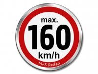 12 Stück Geschwindigkeitsaufkleber für M+S WINTERREIFEN - max. 160 km/h - Ø 30 mm