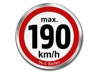 12 Stück Geschwindigkeitsaufkleber für M+S WINTERREIFEN - max. 190 km/h - Ø 30 mm