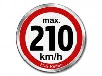 12 Stück Geschwindigkeitsaufkleber für M+S WINTERREIFEN - max. 210 km/h - Ø 30 mm
