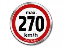 12 Stück Geschwindigkeitsaufkleber für M+S WINTERREIFEN - max. 270 km/h - Ø 30 mm