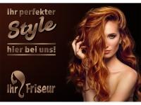 Aufkleber FRISEUR IHR STYLE HIER BEI UNS! Werbung - verschiedene Din-Formate wählbar!