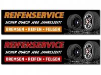 PVC-Banner REIFENSERVICE Bremsen, Reifen, Felgen - Sicher durch jede Jahreszeit