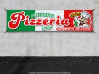 PVC-Banner RISTORANTE PIZZERIA ITALIA LIEFERDIENST mit Ihrer Telefonnummer bedruckt