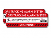 2 x GPS TRACKING ALARM Aufkleber Sticker, Anti Theft, Alarmanlage Warnaufkleber