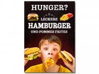 Plakat HUNGER? LECKERE HAMBURGER MIT POMMES Werbung verschiedene Din-Formate