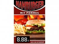 Aufkleber HAMBURGER MIT POMMES Werbung verschiedene Din-Formate